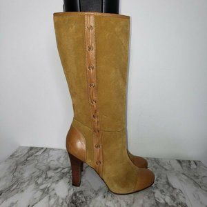 L.L. Bean Tall Heeled Suede Leather Bootie Boots